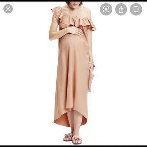 Hatch Off The Shoulder Peach Dress